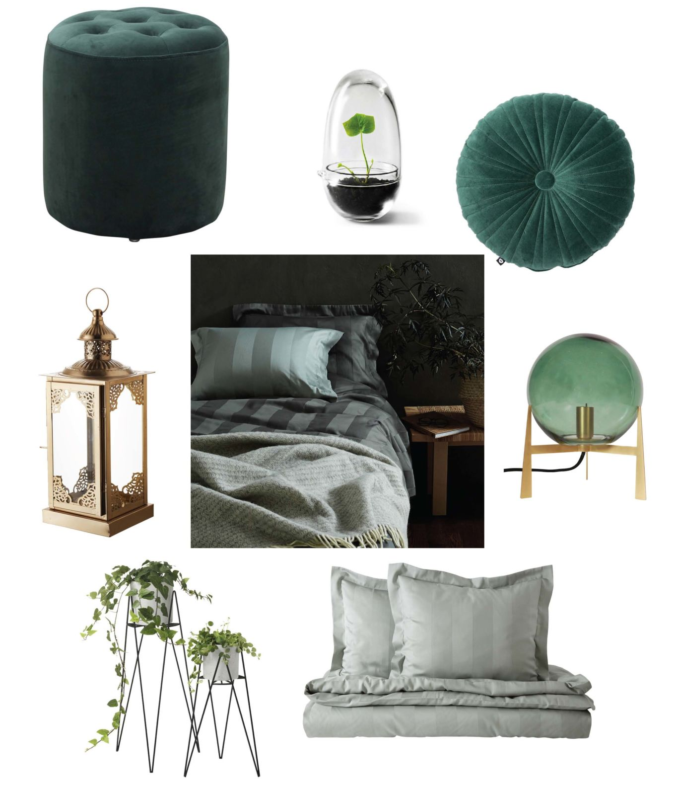 Inred sovrummet i grönt
